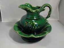 McCoy Green Grapes Pitcher and Bowl - Antique Curio