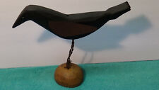 VINTAGE HAND CARVED WOODEN CROW DECOY GLASS EYES TIN WINGS BARBED WIRE LEGS