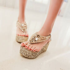 Ladies Glitter Silver Gold Platform Wedge T Bar Roma Bohemia Sandal Plus Size