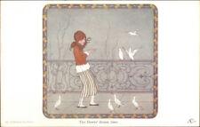 H Willebeek Le Mair Girl & Doves Dinner Time CHILDREN'S CORNER c1910 Postcard