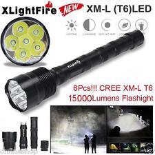 Tactical 15000 Lumen 6 x XML T6 LED Flashlight Torch Light 5 Modes 18650 Hunting