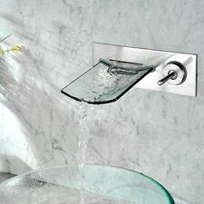Wall mount Waterfall Chrome Brass Bathroom Sink Faucet Glass Spout Single Handle