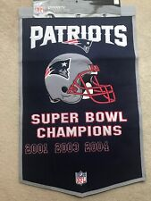New England Patriots NFL Embroidered Wool Super Bowl Dynasty 24x36 Banner