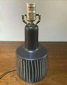 MARTZ Pottery Table Lamp MARSHALL STUDIOS Round INCISED circa 1960 RARE