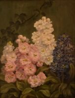 E. C. Ulnitz: well listed Danish artist. Flower painting. Oil on canvas.