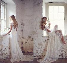 Hot Sale Bohemian Lace Wedding Dress Bridal Gown Custom Size 2 4 6 8 10 12 14 16