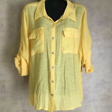 a7e3d392a2 Kim Rogers Button Down Lightweight Yellow Top Blouse New With Tags SZ 2X