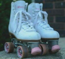Rare!! Chicago Leather Roller Skates Quad Skates Size 8 Women's White Pink 2010
