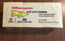 """Office Depot 1,200 Sheets Self-Stick 1 3/8"""" X 1 7/8"""" Yellow Sticky Notes 442-306"""