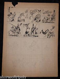 ORIGINAL 1940's INK & PENCIL COWBOY INDIAN SOLDIER COMIC ILLUSTRATION BOARD