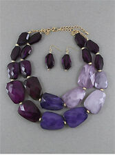 Beaded Purple Ombre Gradiated Faceted Pebble Bead Statement Necklace