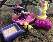Littlest Pet Shop RARE SHORT HAIR BLACK CAT FLOWER White 2249 Lot Crown Collar