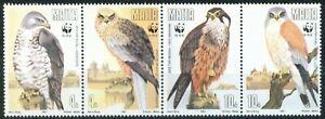 Malta 1991 Endangered Birds of Prey Hawks set of 4 In strip with WWF Logo MNH