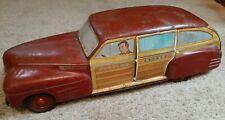 Rare Wyandotte Toy Town Estate Woody Cadillac Car Pressed Steel Tin Litho 1940s