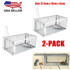 2X Humane Animal Trap 27x15x12cm Steel Cage Live Rodent Control Rat Squirrel Usa