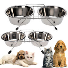 Dog Pet Bowl Double Diner Cat Metal Rabbit Feeder Food Water Dish Small Large