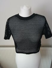 TOPSHOP Ladies Mesh Black Top Cropped Grunge Rock Gothic UK Size 12 M4