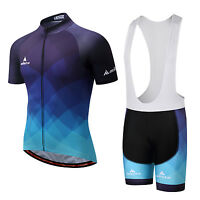 Men's Cycling Bib Kit Bicycle Cycle Jersey (Bib) Shorts Padded Set Blue S-5XL