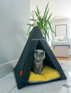 Glamour Teepee cat bed - Yellow, cat tipi with pillow*luxury cat*cat tent