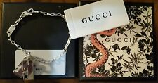 GUCCI Double G Tag Pendant Charm Sterling Silver Bracelet Link Chain 7""