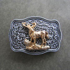 Western Flower Pattern Deer Metal Belt Buckle