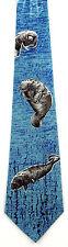 Sea Cows Men's Neck Tie Manatee Marinee Mammals Animal Novelty Blue Necktie