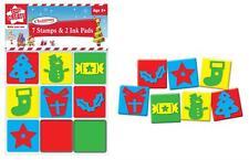 Children's Kids Christmas Xmas Foam Stamps Stampers & Ink Pads Set Tree Cracker