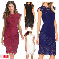 Womens Lace Floral Cocktail Party Wedding Evening Party Bridesmaid Formal Dress