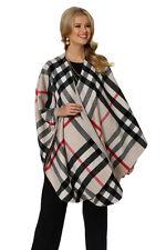 Plaid Cashmere Cape for Women - Winter White Tartan Check Cashmere Wrap
