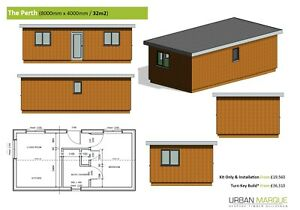 """1 Bed 34m2 """"Perth"""" Self build DIY House Frame Kit - Meets Mobile Home Rules"""