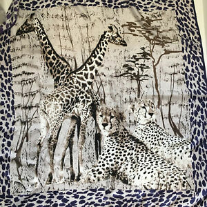 Marc Cain Large Silk Scarf Giraffes Leopards Animal Print 36 x 36in Hand Rolled
