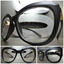 CLASSIC VINTAGE 60's CAT EYE Style Clear Lens EYE GLASSES Matte Black Gold Frame