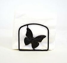 """Iron Square Napkin Holder, Butterfly Design- 4.5""""H X 4.75""""W."""
