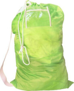 Large Nylon Laundry Bag w/ Shoulder Strap and Clear Label Holder Assorted Colors