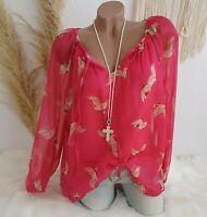 Italy Damen Chiffon Bluse Tunika Vögel Kolibri Frühling Doppellagig Pink 38 40