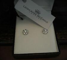 Man Made Brilliant Round Cut Diamond Cluster Stud Screw Earrings 925 Silver.
