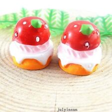 Jewelry Accessories Strawberry Cream Cake Resin Flatback Craft Finding 13x 51351