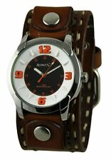Nemesis White/Orange Embossed Watch with Brown Double Stitched Leather Cuff Band