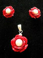 Pendientes De Plata Esterlina Colgante Perla Flor Rosa Roja Tallada & Aretes Conjunto de Regalo