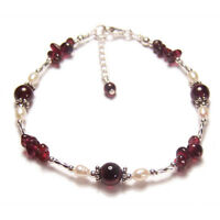 Garnet and pearl Sterling silver bracelet twisted gem stone gemstone red ruby