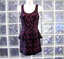 HEART SOUL DRESS HOT PINK WITH BLACK LACE MINI SLEEVELESS SIZE X-SMALL