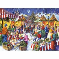 GIBSONS CHRISTMAS FAYRE 1000 PIECE MARKET NOSTALGIA JIGSAW PUZZLE