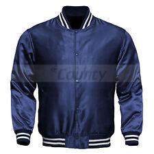 Varsity Baseball Letterman College Bomber Jacket Supreme Quality Navy Blue Satin