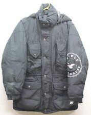 Vtg Mens TRIPLE FAT GOOSE Black Full Zip Parka Jacket Coat Goose Down Med 44