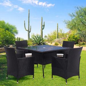 Rattan Tempered Glass Garden Tea Table Outdoor Patio Bistro W/ Umbrella Hole