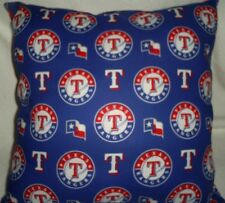 "16.5""x16.5"" Handmade Toss Pillow of  #2 TX Rangers Cotton w/Red Cotton Back"