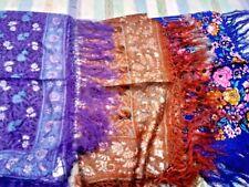 """100% Pure Indien Soie Fait Main 40""""x 40"""" Franges Motif Floral Châles £ 15.95 cha..."""
