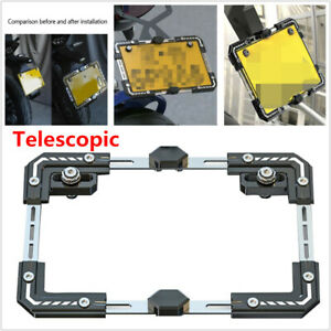 Motorcycle Adjustable Telescopic License Plate Frame Protector Holder w/ Screws