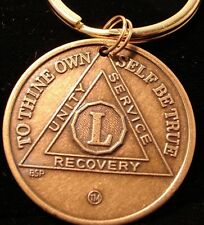 Alcoholics Anonymous Aa 50-Year New Bronze Keychain Medallion-Token-Coin-Chip