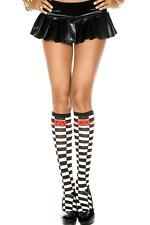 Black White Red Skull Checkerboard Socks Festival Warm Pirate Kawaii Knee High
